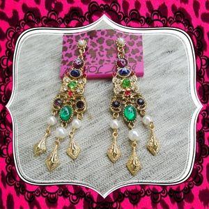 Betsey Johnson Fashion Retro green pearl earrings